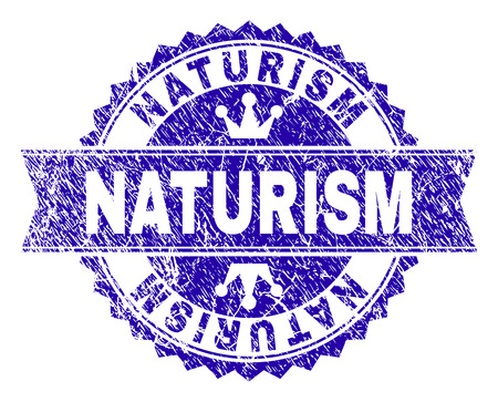 NATURISM rosette stamp seal watermark with grunge style. Designed with round rosette, ribbon and small crowns. Blue vector rubber watermark of NATURISM text with grunge style. Illusztráció