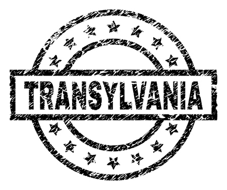 TRANSYLVANIA stamp seal watermark with distress style. Designed with rectangle, circles and stars. Black vector rubber print of TRANSYLVANIA title with unclean texture.