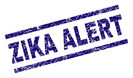ZIKA ALERT seal watermark with scratced style. Blue vector rubber print of ZIKA ALERT caption with corroded texture. Text caption is placed between parallel lines.