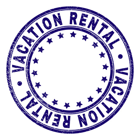VACATION RENTAL stamp seal watermark with distress texture. Designed with round shapes and stars. Blue vector rubber print of VACATION RENTAL text with unclean texture. Illustration