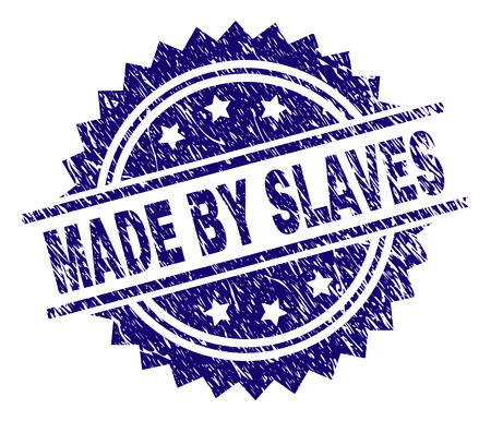 MADE BY SLAVES stamp seal watermark with distress style. Blue vector rubber print of MADE BY SLAVES text with dust texture.
