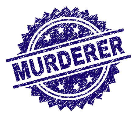MURDERER stamp seal watermark with distress style. Blue vector rubber print of MURDERER title with unclean texture. Illustration