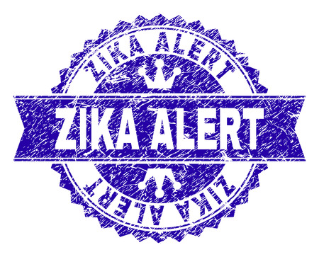 ZIKA ALERT rosette seal watermark with grunge texture. Designed with round rosette, ribbon and small crowns. Blue vector rubber watermark of ZIKA ALERT tag with dust texture.