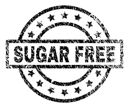 SUGAR FREE stamp seal watermark with distress style. Designed with rectangle, circles and stars. Black vector rubber print of SUGAR FREE tag with dirty texture.