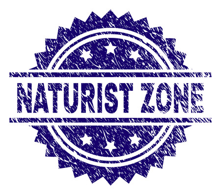 NATURIST ZONE stamp seal watermark with distress style. Blue vector rubber print of NATURIST ZONE title with dirty texture. Illustration