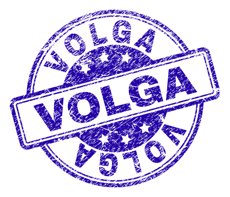 VOLGA stamp seal imprint with grunge texture. Designed with rounded rectangles and circles. Blue vector rubber print of VOLGA title with scratched texture.