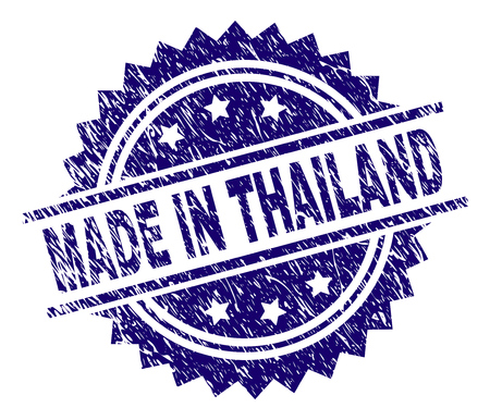 MADE IN THAILAND stamp seal watermark with distress style. Blue vector rubber print of MADE IN THAILAND title with dust texture. Illustration