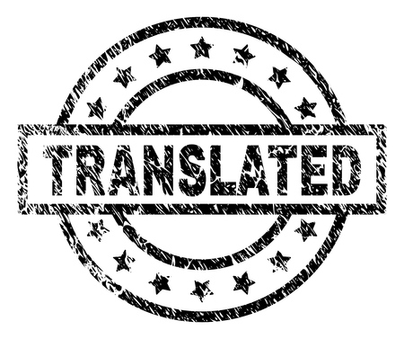 TRANSLATED stamp seal watermark with distress style. Designed with rectangle, circles and stars. Black vector rubber print of TRANSLATED caption with unclean texture. Ilustração