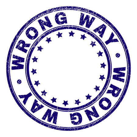WRONG WAY stamp seal imprint with grunge texture. Designed with round shapes and stars. Blue vector rubber print of WRONG WAY caption with grunge texture. Illustration