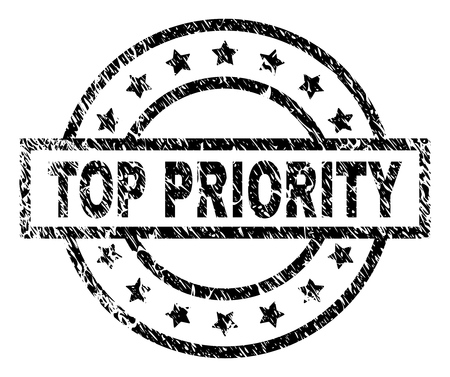 TOP PRIORITY stamp seal watermark with distress style. Designed with rectangle, circles and stars. Black vector rubber print of TOP PRIORITY label with dust texture. Illustration