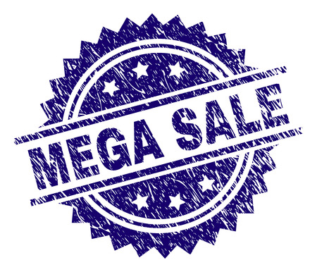 MEGA SALE stamp seal watermark with distress style. Blue vector rubber print of MEGA SALE title with corroded texture. Illustration