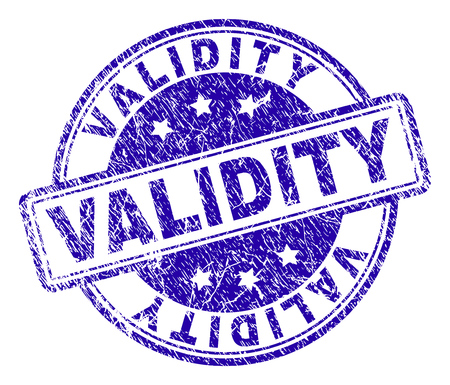 VALIDITY stamp seal watermark with distress texture. Designed with rounded rectangles and circles. Blue vector rubber print of VALIDITY label with unclean texture.