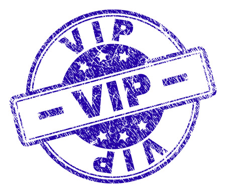 VIP stamp seal imprint with grunge style. Designed with rounded rectangles and circles. Blue vector rubber print of VIP label with grunge texture. Ilustração