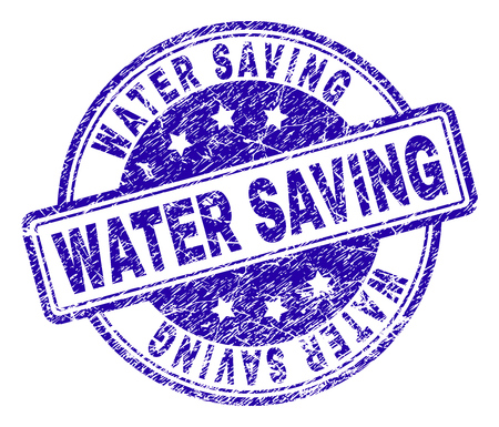 WATER SAVING stamp seal watermark with distress texture. Designed with rounded rectangles and circles. Blue vector rubber print of WATER SAVING label with dust texture. Иллюстрация