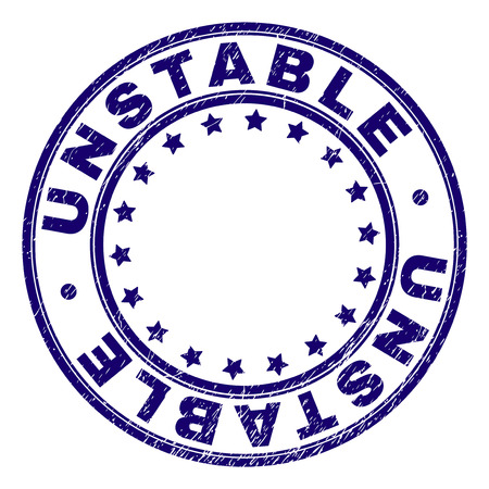 UNSTABLE stamp seal watermark with grunge texture. Designed with round shapes and stars. Blue vector rubber print of UNSTABLE caption with grunge texture.