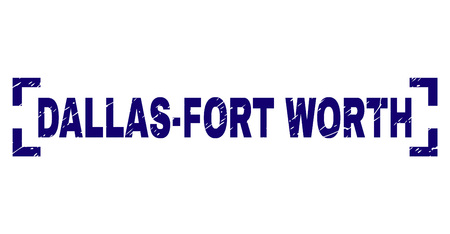 DALLAS-FORT WORTH text seal print with corroded texture. Text tag is placed inside corners. Blue vector rubber print of DALLAS-FORT WORTH with retro texture.