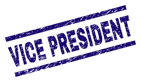 VICE PRESIDENT seal print with distress style. Blue vector rubber print of VICE PRESIDENT label with grunge texture. Text label is placed between parallel lines.