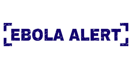 EBOLA ALERT text seal print with distress texture. Text caption is placed inside corners. Blue vector rubber print of EBOLA ALERT with grunge texture.