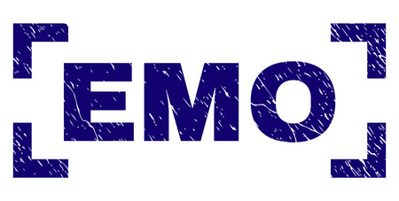 EMO text seal stamp with corroded texture. Text label is placed between corners. Blue vector rubber print of EMO with dirty texture.