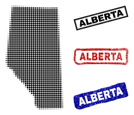 Halftone dot vector abstract Alberta Province map and isolated black, red, blue textured stamp seals. Alberta Province map title inside draft rectangle frames and with distress rubber texture. Illustration