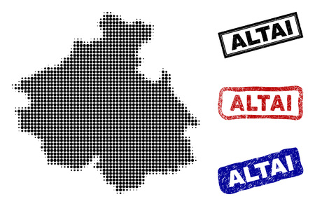 Halftone dot vector abstract Altai Republic map and isolated black, red, blue rubber-style stamp seals. Altai Republic map tag inside draft rectangle frames and with retro rubber texture.  イラスト・ベクター素材