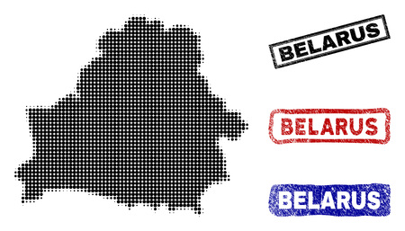 Halftone vector dot abstracted Belarus map and isolated black, red, blue rubber-style stamp seals. Belarus map caption inside draft rectangle frames and with unclean rubber texture. 일러스트