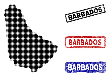 Halftone dot vector abstracted Barbados map and isolated black, red, blue rubber-style stamp seals. Barbados map caption inside draft rectangle frames and with retro rubber texture. Illustration