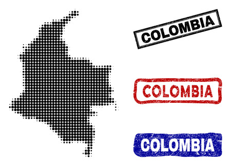 Halftone dot vector abstract Colombia map and isolated black, red, blue rubber-style stamp seals. Colombia map label inside rough rectangle frames and with grunge rubber texture. Illusztráció