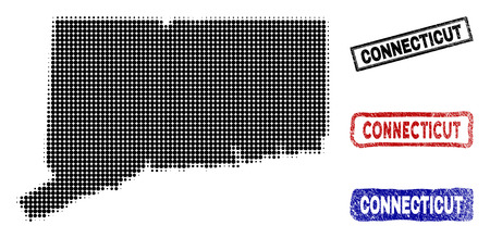 Halftone dot vector abstracted Connecticut State map and isolated black, red, blue rubber-style stamp seals. Connecticut State map name inside draft rectangle frames and with retro rubber texture. Illustration