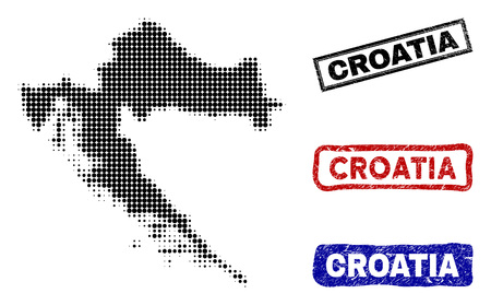 Halftone vector dot abstract Croatia map and isolated black, red, blue rubber-style stamp seals. Croatia map label inside rough rectangle frames and with retro rubber texture.