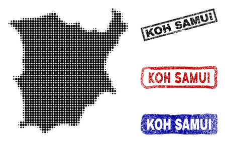 Halftone vector dot abstracted Koh Samui map and isolated black, red, blue rubber-style stamp seals. Koh Samui map tag inside rough rectangle frames and with scratched rubber texture. Illustration
