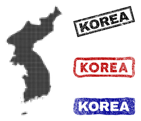 Halftone dot vector abstract Korea map and isolated black, red, blue scratched stamp seals. Korea map label inside rough rectangle frames and with grunge rubber texture.