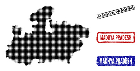 Halftone vector dot abstracted Madhya Pradesh State map and isolated black, red, blue grunge stamp seals. Madhya Pradesh State map name inside rough rectangle frames and with grunge rubber texture.