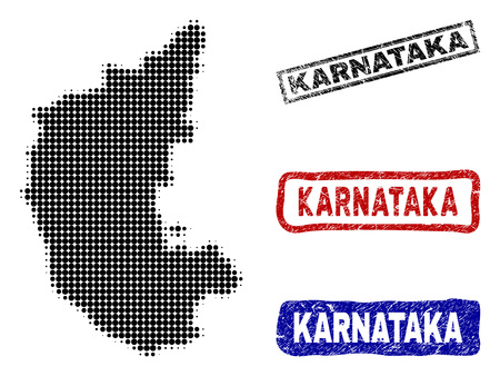 Halftone vector dot abstract Karnataka State map and isolated black, red, blue rubber-style stamp seals. Karnataka State map caption inside rough rectangle frames and with scratched rubber texture. Stock Illustratie