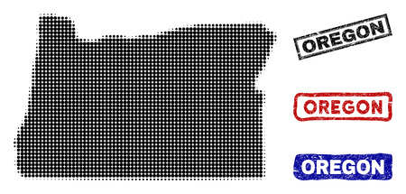 Halftone vector dot abstracted Oregon State map and isolated black, red, blue scratched stamp seals. Oregon State map caption inside rough rectangle frames and with distress rubber texture.