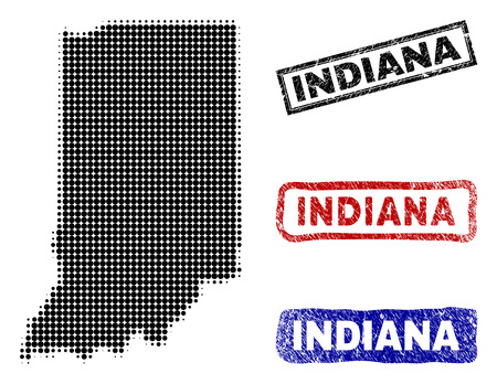 Halftone vector dot abstract Indiana State map and isolated black, red, blue rubber-style stamp seals. Indiana State map title inside rough rectangle frames and with scratched rubber texture. Illustration
