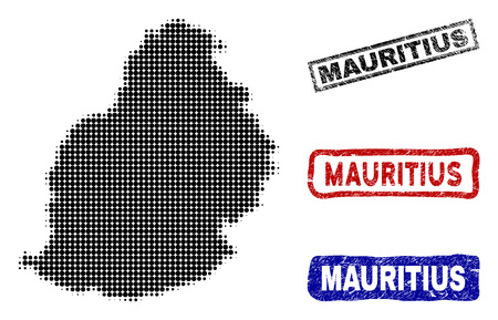 Halftone vector dot abstract Mauritius Island map and isolated black, red, blue rubber-style stamp seals. Mauritius Island map title inside draft rectangle frames and with grunge rubber texture.
