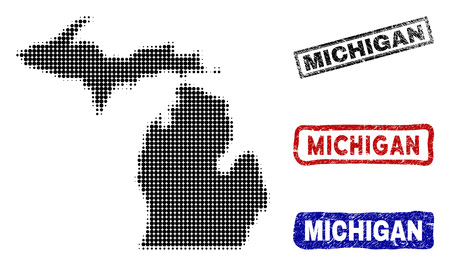 Halftone dot vector abstract Michigan State map and isolated black, red, blue rubber-style stamp seals. Michigan State map title inside draft rectangle frames and with corroded rubber texture.