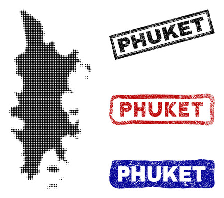 Halftone vector dot abstract Phuket map and isolated black, red, blue rubber-style stamp seals. Phuket map title inside rough rectangle frames and with distress rubber texture.