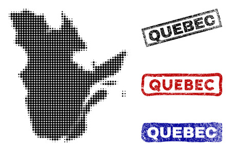 Halftone dot vector abstracted Quebec Province map and isolated black, red, blue damaged stamp seals. Quebec Province map caption inside rough rectangle frames and with grunge rubber texture.