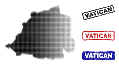Halftone vector dot abstract Vatican map and isolated black, red, blue rubber-style stamp seals. Vatican map name inside rough rectangle frames and with unclean rubber texture. Stock Illustratie