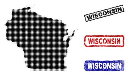 Halftone vector dot abstract Wisconsin State map and isolated black, red, blue scratched stamp seals. Wisconsin State map name inside rough rectangle frames and with retro rubber texture. 일러스트