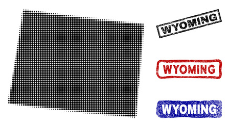 Halftone dot vector abstracted Wyoming State map and isolated black, red, blue textured stamp seals. Wyoming State map tag inside rough rectangle frames and with retro rubber texture. 일러스트