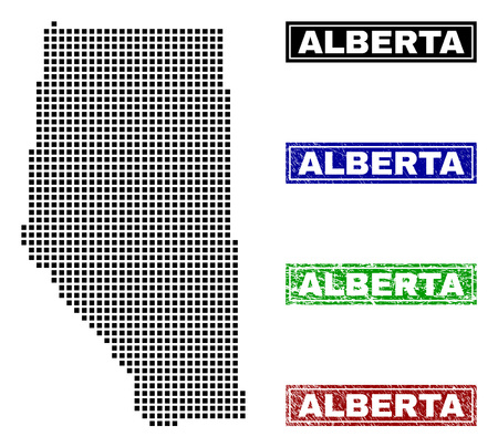 Vector dot abstract Alberta Province map and isolated clean black, grunge red, blue, green stamp seals. Alberta Province map label inside rough framed rectangles and with grunge rubber texture.