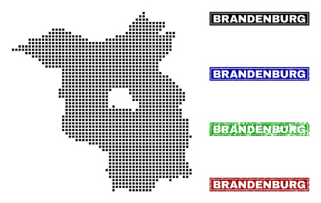 Vector dot abstract Brandenburg Land map and isolated clean black, grunge red, blue, green stamp seals. Brandenburg Land map name inside draft framed rectangles and with grunge rubber texture.