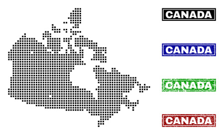 Dot vector abstract Canada map and isolated clean black, grunge red, blue, green stamp seals. Canada map caption inside draft framed rectangles and with grunge rubber texture.