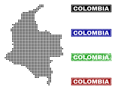 Vector dot abstracted Colombia map and isolated clean black, grunge red, blue, green stamp seals. Colombia map name inside draft framed rectangles and with distress rubber texture.