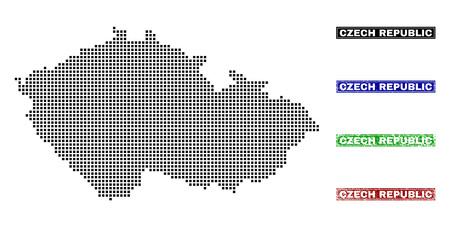 Punktvektor abstrahierte Karte der Tschechischen Republik und isolierte saubere schwarze, Grunge-rote, blaue, grüne Stempelsiegel. Tschechische Republik Kartenname in Entwurf gerahmte Rechtecke und mit Grunge-Gummi-Textur.