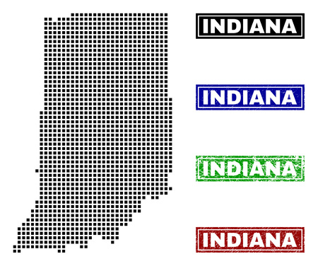 Vector dot abstract Indiana State map and isolated clean black, grunge red, blue, green stamp seals. Indiana State map label inside draft framed rectangles and with grunge rubber texture.