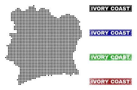 Vector dot abstract Ivory Coast map and isolated clean black, grunge red, blue, green stamp seals. Ivory Coast map name inside draft framed rectangles and with grunge rubber texture. 写真素材 - 126757958